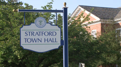 Stratford Town Hall sign Stock Footage