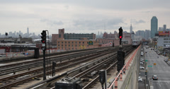UHD Ultra HD 4K Elevated Subway Transit System Metro Train Passing Queens NYC Stock Footage