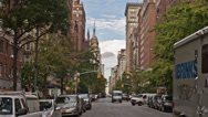 Stock Video Footage of Empire State Building from Lower 5th Ave