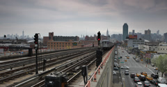 Ultra HD 4K People Commuters Subway Line Passing Queens New York City Skyline Stock Footage