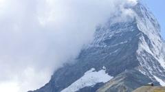 Time lapse banner clouds East face Matterhorn, Zermatt Stock Footage