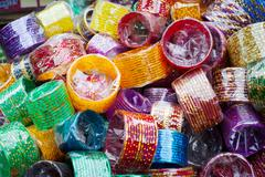 Bangles at Indian market place - stock photo