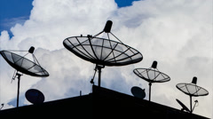 Time Lapse Silhouette Satellite Dish And Sky Background Stock Footage