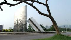 Wide Shot of Artistic Structure in Islamabad - stock footage