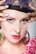 Stock Photo of portrait beautiful girl woman in a turban
