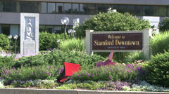 Welcome to Stamford Downtown sign (2 of 2) Stock Footage