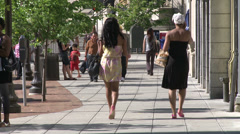 Pedestrians walking in Downtown Stamford (4 of 4) Stock Footage