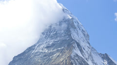 Motion time lapse banner clouds East face Matterhorn, Zermatt Stock Footage