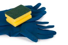 gloves and sponge for cleaning - stock photo