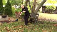 Stock Video Footage of Woman raking leaves 7