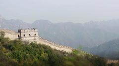 Aerial shot of Great Wall of China Stock Footage