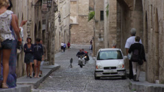 Medieval town of Rhodes view with Knight Street (Odos Ippoton) Stock Footage