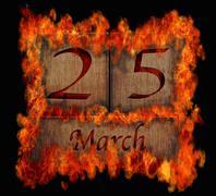 Burning wooden calendar march 25. Stock Illustration