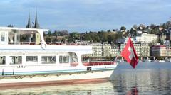 Cruiser ship. Lucerne lake, Switzerland Stock Footage