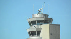 Air traffic control tower at the airport Stock Footage