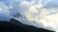 Matterhorn motion time lapse cloud formations, Zermatt Stock Footage