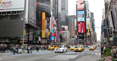 Ultra HD 4K Times Square New York City Morning Day Taxi Yellow Cabs Car Traffic - stock footage