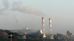 Power Plant with Red-Striped Smoke Stacks in Los Angeles Stock Footage
