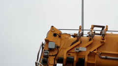 Crane head body parts of the construction hook on a closer image Stock Footage