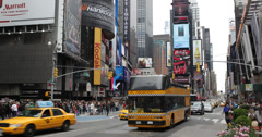 Ultra HD 4K Times Square Broadway Theaters Symbol New York City Manhattan Day - stock footage