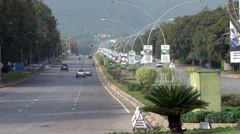 Wide Shot of a Road in Islamabad Facing the Margalla Hills - stock footage
