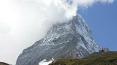 Banner clouds motion time lapse East face Matterhorn, Zermatt Stock Footage