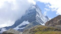 Time lapse cloud formations East face Matterhorn, Zermatt Stock Footage