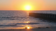 Playa Del Ray Los Angeles Sunset with Pier Birds Waves and Boats Stock Footage