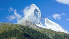 Time lapse cloud air vortices East face Matterhorn, Zermatt - stock footage