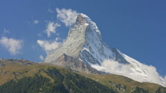 Motion time lapse banner or a flag cloud, Matterhorn, Zermatt - stock footage