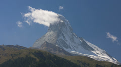Motion time lapse banner cloud or flag cloud, Matterhorn, Zermatt - stock footage
