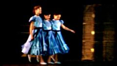 Vintage film theater arts dance stage performance young kids entertainment Stock Footage