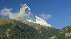 Motion time lapse majestic Matterhorn slopes and  mountain, Zermatt, - stock footage