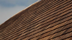 569 closer image cedar wooden shingles roof roofing roofworking tar Stock Footage
