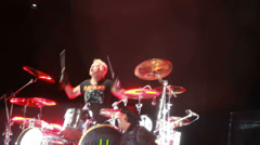 Scorpions performance in the pouring rain at the rock festival The Best City.UA Stock Footage