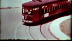 Old film trolley car travelling 1960s vintage city view transportation historic Stock Footage