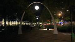 Klyde Warren park at night Stock Footage