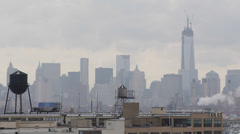 Aerial View, Water Towers on the roofs, New York City Skyline NYC, One WTC Day Stock Footage