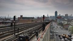 People Commuters Subway Line Passing Queens Neighborhood New York City Skyline Stock Footage