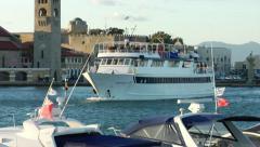 Ship arriving in Mandraki Port, Rhodes Stock Footage