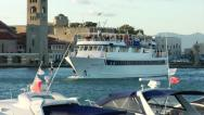 Stock Video Footage of Ship arriving in Mandraki Port, Rhodes