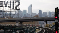 Urban Transportation in Queens Suburban Area Subway Train Passing Departing Day - stock footage