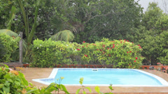 Pool on a tropical downpour in the Seychelles in 2013 - stock footage