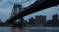 Illuminated Night NYC Manhattan Bridge New York City Empire State Building Light HD Footage