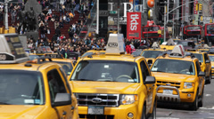 Iconic Place Times Square New York City Car Traffic Yellow Cab Taxi YellowCab Stock Footage