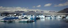 Stock Photo of panoramic view over hundreds of icebergs