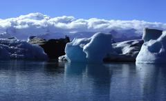 sunlit icebergs - stock photo