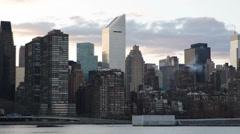New York City Skyline Manhattan Midtown Skyscraper East River Citigroup Sunset Stock Footage