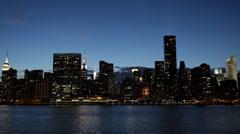 Illuminated Night New York City Manhattan Midtown Skyline Empire State Building Stock Footage