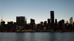 New York City Skyline United Nations UN Chrysler Building Trump Tower Dusk Night Stock Footage